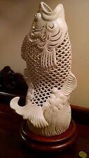 """Blanc de Chine Koi Fish Sculpture Pierced Porcelain Vase 13"""" Porcelain Lamp Base"""