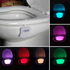 8 Color Body Sensing Automatic LED Motion Sensor Toilet Bowl Night Light Lamp #U