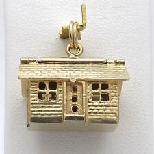 14K GOLD 3D ARTICULATED BRICK HOUSE ROOF OPENS FURNITURE CHARM PENDANT 5.9Gr