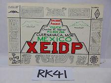 VINTAGE QSL CARD AMATEUR RADIO POSTAL HISTORY 1968 CUERNAVACA MOR. MEXICO AL