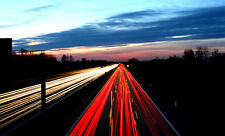 Framed Print - M1 Motorways Traffic Rushing in the Night (Picture Poster Art)