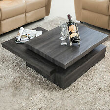 Oak Square Rotating Wood Coffee Table with 3 Layers Home Living Room Furniture
