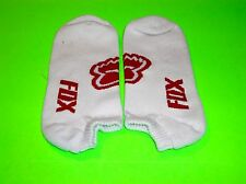 FOX RACING WHITE & RED NO SHOW SOCKS ADULT SIZE 7-10 !