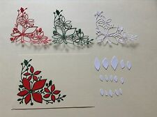9 x Die cuts PLUSH POINSETTIA CORNER  *FREE UK POSTAGE* Ideal for Christmas