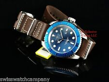 Invicta Men ARMY Hydromax Deep Blu Dial Brown Army Style Leather Strap SS Watch
