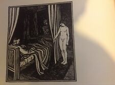 1920s Woodcut Print by Gwendolen Raverat: nude, naked lady by bed