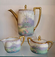 FANTASTIC  PICKARD 3 PIECE HAND PAINTED IMPRESSIONISTIC SCENIC TEA SET C-1912