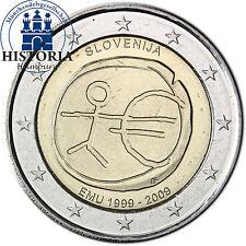 Slovénie 2 euro pièce commémorative 2009 BFR. 10 ans uem eum union économique