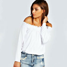 Boho Womens Gypsy Off Shoulder Frill Shirred Casual Tops Blouse Tee Shirt S-XL