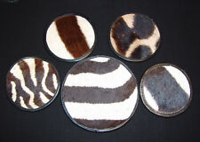 Beautiful Genuine Zebra Hide Skin w/Leather Trim Wine Set with Coasters