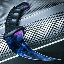 TACTICAL KARAMBIT KNIFE Survival Hunting BOWIE Fixed Blade BLACK PEARL DOPPLER