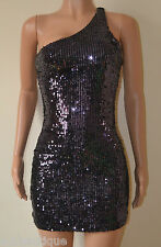 VICKY MARTIN purple black one shoulder sequin bodycon mini dress BNWT 8 10 £150