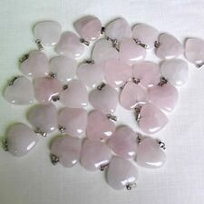 Wholesale lot 50pcs Rose Quartz Semi-precious stone Love Heart Charms Pendants
