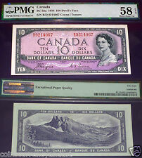 Devils Face - World Famous - Bank Of Canada $10 1954 PMG GRADED AU58