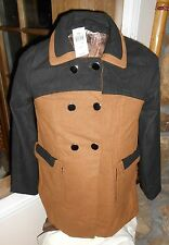 LADY'S BLACK AND TAN MED JACKET POLYSTER/WOOL MED BY LOLA