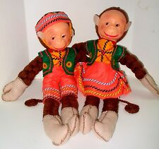 Vintage German Braided Yarn Felt Plastic Face Monkey Boy & Girl Dolls