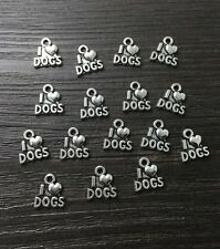 Jewelry Findings,Charms,Pendants,Tibetan Silver i love dogs/12pcs.