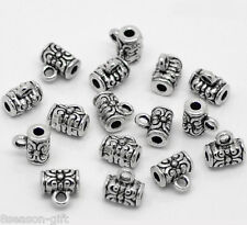 400Pcs Silver Tone Wire Tube Spacer Beads Bail 4x7mm