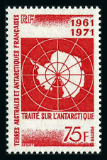 FSAT TAAF 45, MNH. Antarctic Treaty, 10th anniv. Map, 1971