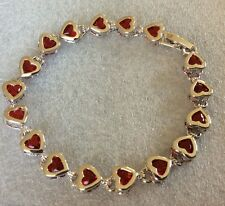 "GB044 Plum UK red garnet heart silver/white gold gf bracelet 7.25"" / 18.5mm BOXD"
