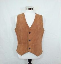 """Beat Up Worn Roughout Leather Vest Sz 38"""" Chest Satin Lined Reenactment Cosplay"""