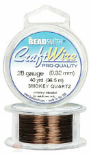 Smoky Quartz 28GA Round Craft Wire Jewelry Beading Wrapping Jump Rings 40 Yds