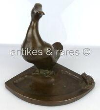 alte Bronze Visitenkartenschale Ente mit Frosch, Bruno Wendel Berliner Bildhauer