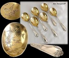 6pcs Antique French Sterling Silver ice cream spoons Flatware Set Dessert fruit