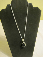 "Natural Black Onyx Sterling Silver Pendant Necklace~18""~Free Shipping~LBDLR"
