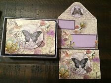 PUNCH STUDIO~ BUTTERFLIES~BLANK NOTE CARDS~EMBELLISHED~8~LOVELY!