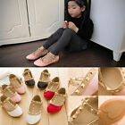 New 1 Pair Toddler Princess Girls Kids Sandals Rivet Buckle T-strap Flat Shoes