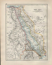 1904 ANTIQUE MAP ~ RED SEA ~ EGYPT NILE DELTA ARABIA TIGRE ERITREA