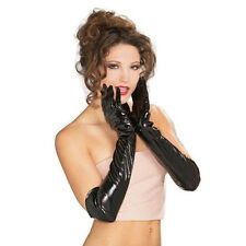Pair Sexy Women Glove Wet Look Black Long Glove Fetish Clubwear Roleplay Costume