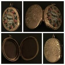 THE MOST BEAUTIFUL 9CT GOLD VICTORIAN ENAMELLED LOCKET EVER WITH ROSES & REGARD