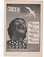 Pubblicità epoca 1937 CROCIERA ITALIA VIAGGIO advert werbung publicitè reklame