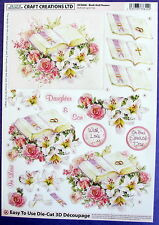 "A4 DIE CUT 3D PAPER TOLE DECOUPAGE ""BOOK & FLOWERS""  WEDDING NO CUTTING  DCD606"