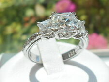 Tacori Epiphany Diamonique Princess cut 3 stone ring size 7