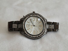 NEW LADIES BLACK METALLIC BRACELET ROUND WATCH BIG 4.5CMS FACE, DIAMANTES BLING