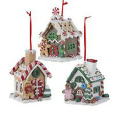 Set of 3 Kurt Adler Gingerbread House LED Christmas Ornaments Light Up 3.5""