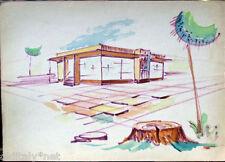 Acquerello '900 su carta Watercolor Architettura futurista cubista razionale-16