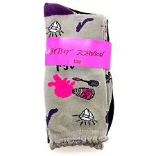 2 Pk Betsey Johnson Casual Socks, Ladies 9-11 Fab Wedesday's & Black Ribbed