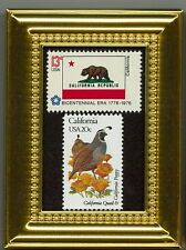CALIFORNIA STATE FLAG, BIRD & FLOWER FRAMED COLLECTIBLE POSTAGE MASTERPIECE!