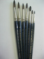 7 - WATER COLOR BRUSH MIX SQUIRREL HAIR  SIZES # 2-3-6-7-9-11-12 Made in Germany