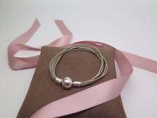 New Pandora Khaki Med  Multi Strand Cord Bracelet 590715CKH M2 Gift set option