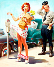 No Time to Lose A1 Retro Pinup Calendar Girl by Art Frahm Canvas Art Print