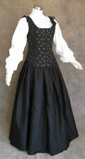 Black Renaissance Bodice Skirt and Chemise Medieval Pirate Gown Dress Cosplay 2X