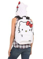 HELLO KITTY HOOD SCHOOL BACKPACK BOOK BAG WHITE FACE BOW HOODED HOODIE SANRIO