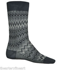 MISSONI Italy Men's Zig-Zag Stripe Crochet-Knit Dress Socks Chevron S Burg *NWT*