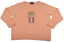 "E.vil Baby Girls Peach Cashmere Sweater ""smiling popcorn"" Size 12m"