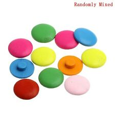 20 Wooden Assorted Colour Bright Shank Buttons 20mm Sewing Bargain Price